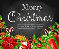 Омела poinsettia украшения рождества красная с ручкой тросточки куска зеленого пряника листьев оранжевой и красной коробкой с кра иллюстрация штока