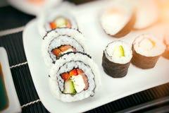 домодельные суши плиты Стоковое Изображение