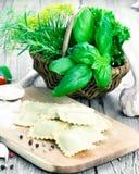 домодельный ravioli макаронных изделия Стоковое фото RF