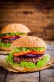 2 домодельных гамбургера с свежими органическими овощами Стоковые Изображения RF