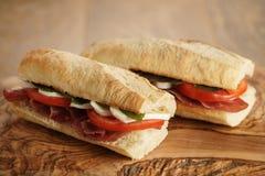 2 домодельных итальянских сандвича с bresaola и моццареллой Стоковые Изображения RF