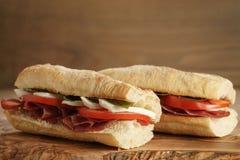 2 домодельных итальянских сандвича с bresaola и моццареллой Стоковое фото RF