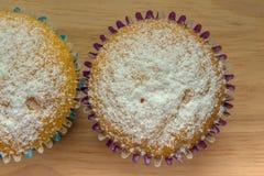 2 домодельных пирожного с напудренным сахаром Стоковые Фотографии RF