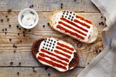 2 домодельных сандвича с изображением американского флага Стоковая Фотография