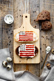 2 домодельных сандвича с изображением американского флага Стоковая Фотография RF