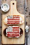 2 домодельных сандвича с изображением американского флага Стоковые Изображения RF