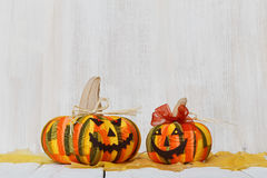 2 домодельных усмехаясь тыквы на хеллоуин Стоковые Фото
