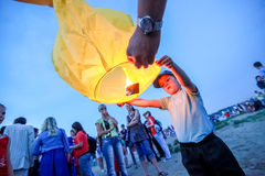 Омск, Россия - 16-ое июня 2012: фестиваль китайского фонарика Стоковая Фотография RF