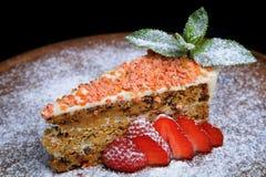 ломтик лимона моркови торта предпосылки Стоковые Изображения