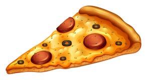 ломтик пиццы pepperoni путя клиппирования изолированный изображением иллюстрация штока