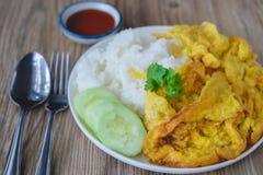 Омлет с рисом, тайской едой, этой кухней, тайским легким обедом Стоковая Фотография