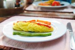 Омлет с томатным соусом и длинной фасолью Стоковые Фотографии RF