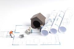 дом здания на светокопиях с конструкцией работника Стоковая Фотография RF