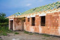 дом кирпича незаконченная Стоковая Фотография RF
