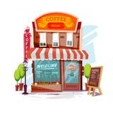 дом кофе капучино barman подготовляет Фасад магазина кофейни или кафа - illustra иллюстрация вектора