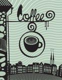дом кофе капучино barman подготовляет иллюстрация вектора