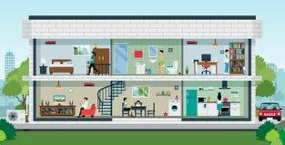 дом семьи счастливый иллюстрация штока