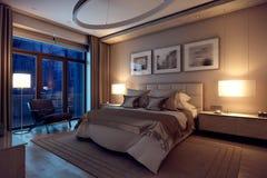 дом спальни вечера перевода 3D в лесе Стоковое Фото