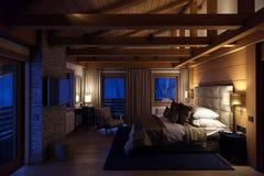 дом спальни перевода 3D в горе Стоковые Фото