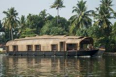 дом шлюпки Индия Керала Стоковая Фотография