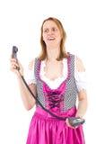 Она испугана о звонящем по телефону Стоковая Фотография