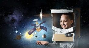 Она хочет стать астронавтом Мультимедиа Стоковые Изображения