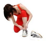 она jogging затягивающ женщину Стоковые Изображения RF