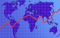 ОНие восходящ финансы диаграммы гловальные Стоковая Фотография RF