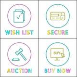 Онлайн аукцион и безопасность, wishlist и приобретение бесплатная иллюстрация