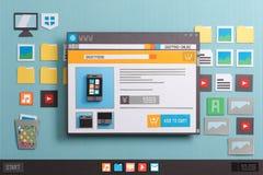 Онлайн вебсайт покупок стоковое изображение rf
