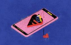 Онлайн датировка и fishers любов Красочная иллюстрация показывает онлайн fisher ища спички любов на сети через его иллюстрация вектора