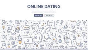 Онлайн датируя концепция Doodle иллюстрация вектора