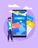 Онлайн записывая обслуживание билета и оплаты мобильное бесплатная иллюстрация