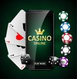 Онлайн знамя маркетинга казино интернета позвоните по телефону app с костью, обломоками покера и играя карточками Играть покер се иллюстрация вектора