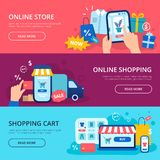 Онлайн знамя покупок Кредитная карточка магазина сети, тележка магазина интернета и набор знамен вектора доставки приобретения иллюстрация штока