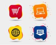 Онлайн значки покупок ПК тетради, тележка, покупка Стоковое Изображение RF
