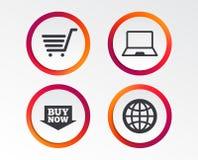 Онлайн значки покупок ПК тетради, тележка, покупка Стоковые Изображения RF