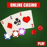 Онлайн казино, логотип онлайн казино с карточками, обломоки и кость бесплатная иллюстрация