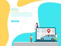 Онлайн концепция иллюстрации вектора публикации автомобиля, мобильный транспорт города с персонажем из мультфильма иллюстрация вектора