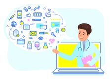 Онлайн концепция медицинской консультации Стоковая Фотография RF