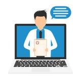 Онлайн концепция медицины Медицинское обслуживание цифров онлайн Онлайн доктор или аптекарь, медицинская консультация иллюстрация штока