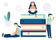 Онлайн концепция образования для веб-дизайна Люди сидя на книгах и уча с различными приборами иллюстрация штока