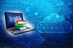 Онлайн концепция образования - портативный компьютер с красочными книгами перевод 3d стоковая фотография rf