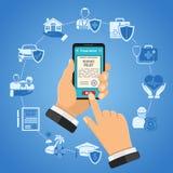 Онлайн концепция обслуживаний страхования Стоковое Изображение RF