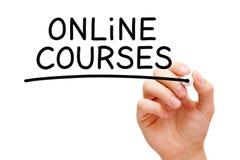 Онлайн курсы рукописные с черной отметкой стоковое изображение