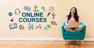 Онлайн курсы с женщиной используя ноутбук стоковые изображения