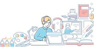 Онлайн курс дизайна - современная линия иллюстрация стиля дизайна бесплатная иллюстрация