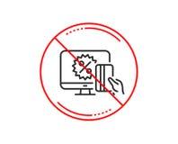 Онлайн линия значок покупок Знак скидки продажи вектор иллюстрация штока