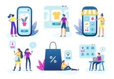 Онлайн магазин Дело магазина сети, приобретение обслуживания и интернета доставки товаров клиента и продажа иллюстрации вектора бесплатная иллюстрация