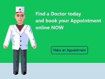 Онлайн медицина Назначение ` s доктора Идея проекта знамени сети Иллюстрация вектора плоская с зеленой предпосылкой стоковая фотография